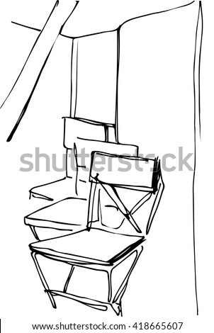 black and white vector sketch of folding wooden chairs in the interior