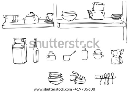 black and white vector sketch of kitchen utensils in the range of wallpaper