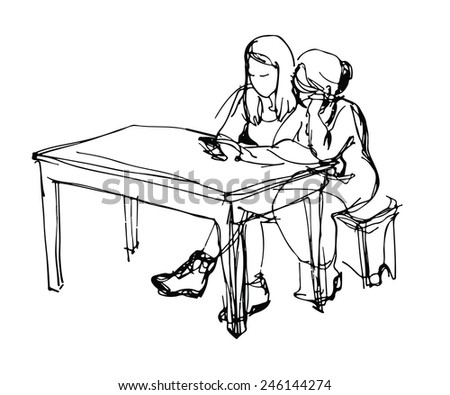 black and white vector sketch of two friends at a table with a tablet - stock vector