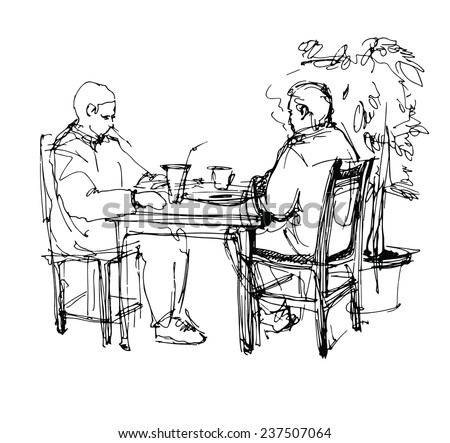 black and white vector sketch of two friends in a cafe at a table drinking tea coffee - stock vector