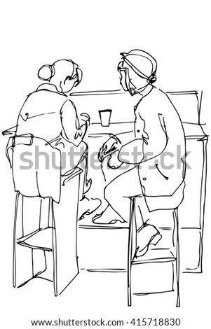 black and white vector sketch of two women on high stools drinking coffee - stock vector