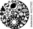Black and white vector Yin-Yang with collection of Zen and oriental icons - stock vector