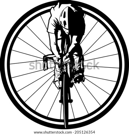 Black and white version of a cyclist from a front view positioned in a bike wheel.  - stock vector