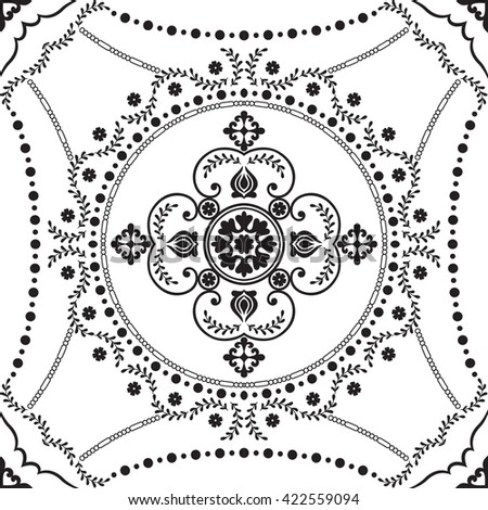 Black and white vintage background. Seamless pattern for fashion fabric, wallpaper and home decor textile. Baroque style. Vector illustration. - stock vector
