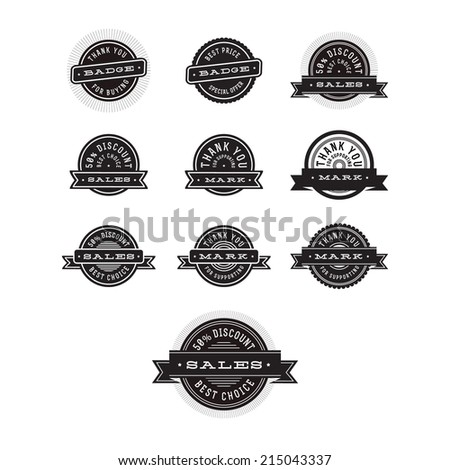 Black and white vintage Badges Set