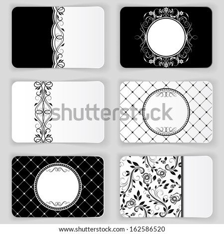 Black and white vintage business cards vector template. - stock vector