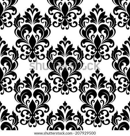 Black and white vintage floral seamless pattern background with arabesque elements in damask style for wallpaper or textile design - stock vector