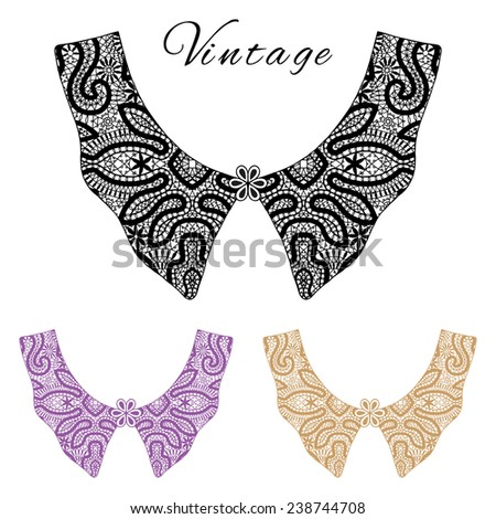 Black and white vintage lace collar, colorful collars collection, retro style, lace pattern set, hand drawn artwork, isolated elements for card design on white background - stock vector