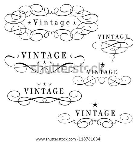 black and white vintage monograms with stars - stock vector