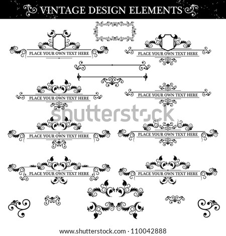 Black and white Vintage ornament set. Vector illustration