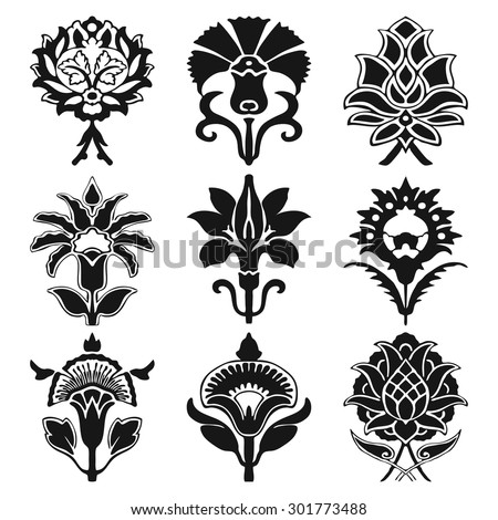 Black and white vintage set oriental flowers pattern isolated on white background
