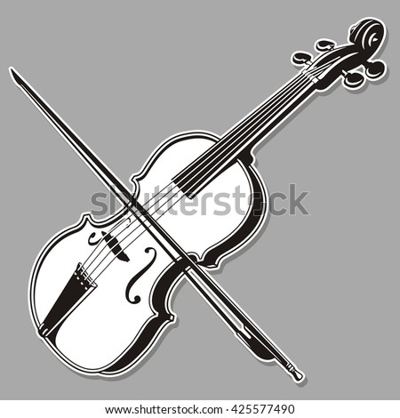 Black and white violin line art, isolated on gray background.