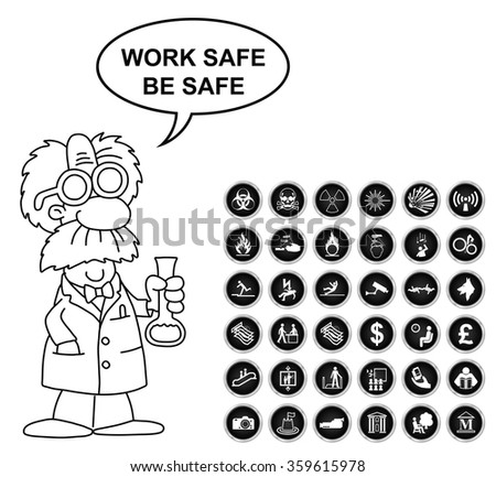 Black and white warning hazard security office finance and entertainment related icon collection isolated on white background with work safe be safe message - stock vector