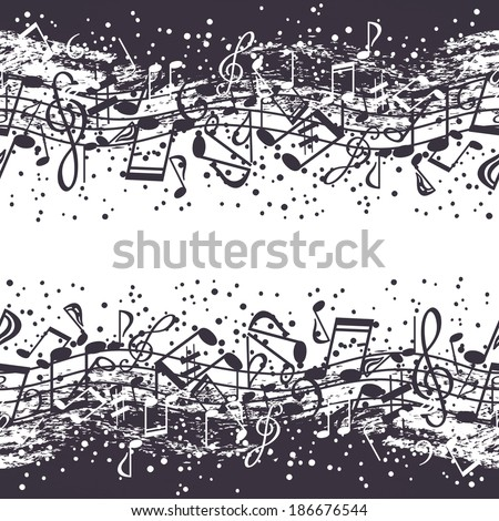 Black-and-white waves of musical symbols - stock vector