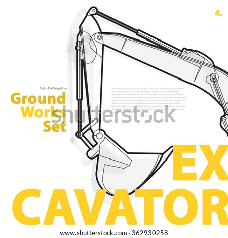 Black and white wire typography set of ground works machines vehicles - Excavator. Construction equipment for building. Truck, Digger, Crane, Forklift, Roller master vector illustration - stock vector