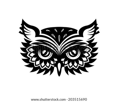 Black and white wise old horned owl head with big eyes and feather for mascot or tattoo design - stock vector
