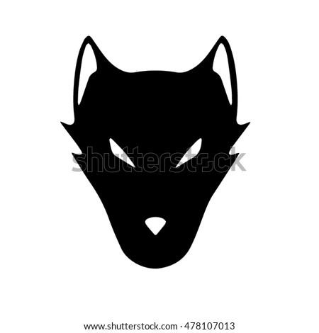 black white wolf face silhouette stock vector 478107013 - shutterstock