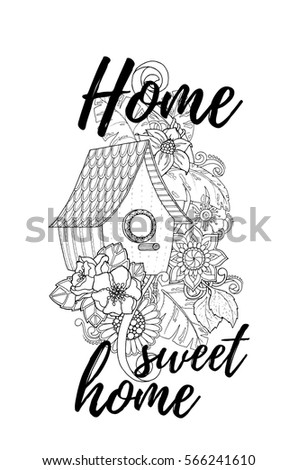 Black And White Wood Nesting Boxes Hand Drawn Outline Bird Houses Decorated With Floral Ornament