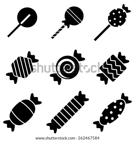 Black and White Wrapped Candy  - stock vector