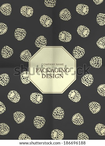 Black and white wrapping paper with raspberries on folded in four paper texture - vintage background, eps10