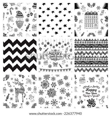 Black and White Xmas and New Year Doodles, Nine Christmas Seamless Background Patterns. Hand-Drawn Vector Illustration. Pattern Swatches - stock vector