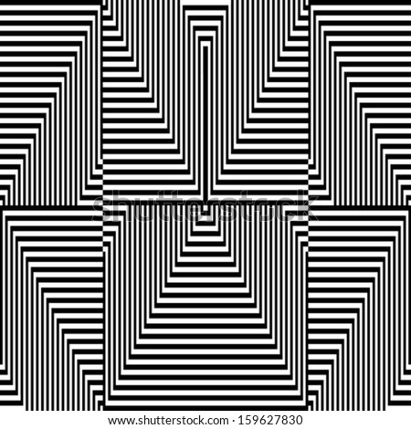 Black and white zigzag pattern - optical illusion - stock vector