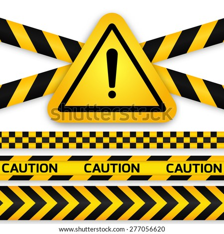 Black and yellow caution striped tapes with yellow hazard warning attention sign. Vector illustration. - stock vector