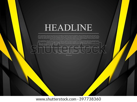 Black and yellow corporate tech striped graphic design. Vector brochure template background, corporate style black yellow stripes - stock vector
