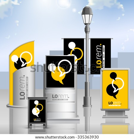 Black and yellow outdoor advertising design for corporate identity with dialog clouds. Stationery set - stock vector