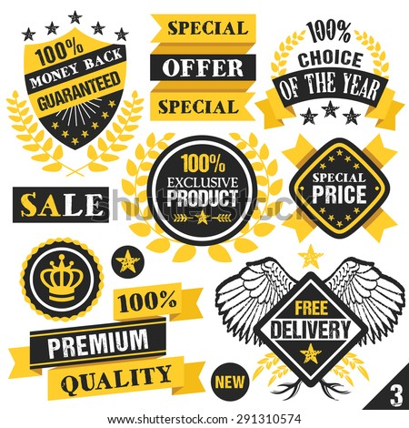 Black and yellow stickers, badges, labels and ribbons. Set 3 - stock vector