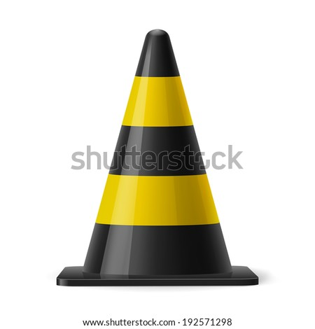 Black and yellow traffic cone. Safety sign used for prevention of accidents during road construction