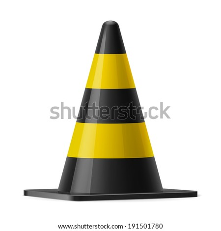 Black and yellow traffic cone. Sign used to prevent accidents during road construction