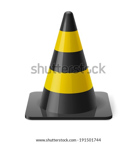 Black and yellow traffic pylon. Safety sign used to prevent accidents during road construction