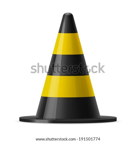 Black and yellow traffic pylon. Sign used for road safey during construction or accidents