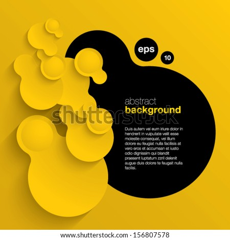 black and yellow vector abstract background composed of overlapping circles  - stock vector