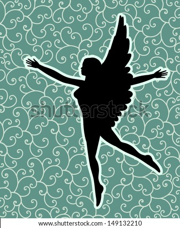 Black angel (wing and right arm can be moved in vector format)   - stock vector