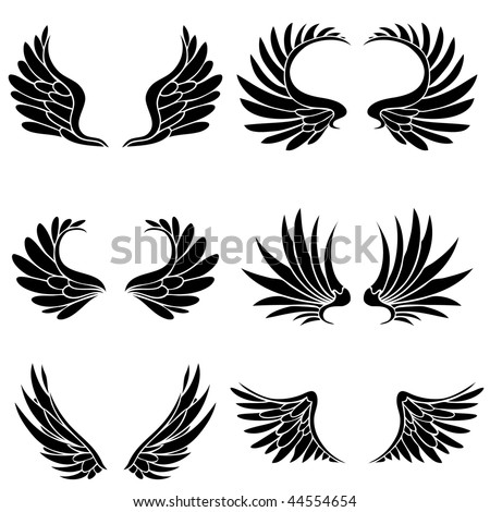 Black angel wings isolated on a white background. - stock vector