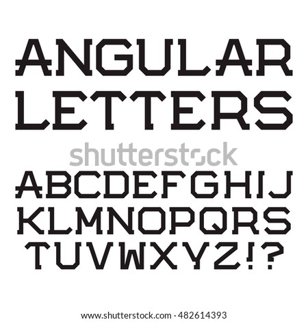 Black Angular Capital Letters Stylish Font Isolated Latin Alphabet