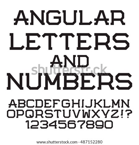 Black Angular Letters And Numbers Stylish Font Isolated Latin Alphabet With Figures