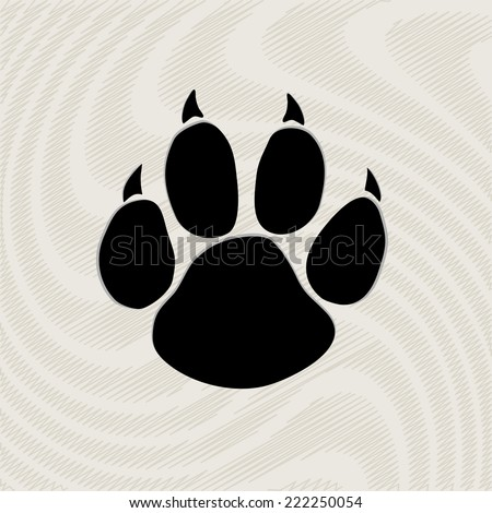 Black animal paw print isolated on pattern, vector illustration  - stock vector