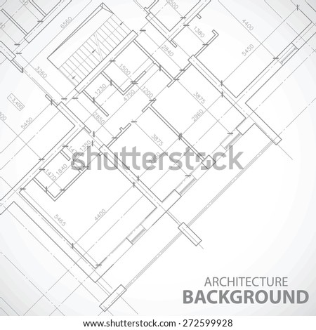 Black architectural plan in unique style. Vector illustration - stock vector
