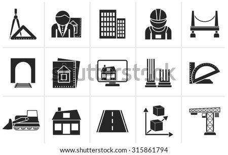 Black architecture and construction icons - vector icon set - stock vector