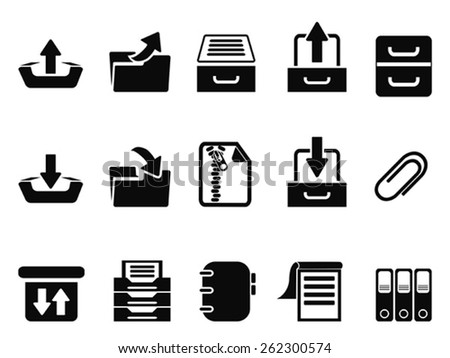 black Archive icons set - stock vector