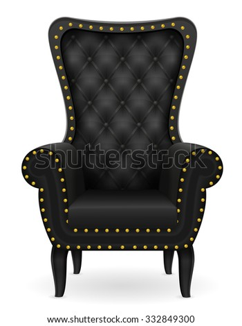black armchair vector illustration isolated on white background - stock vector