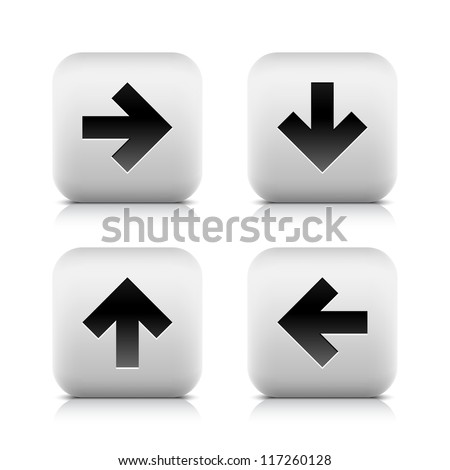 Black arrow icon web sign. Right, down, left, up glyph. Series stone style. Rounded square button with shadow and reflection on white background. Vector illustration clip-art design element in 8 eps - stock vector