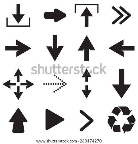 Black arrow icons.Vector - stock vector