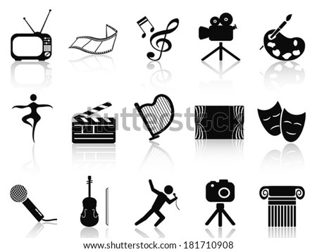 black art concept icons set - stock vector