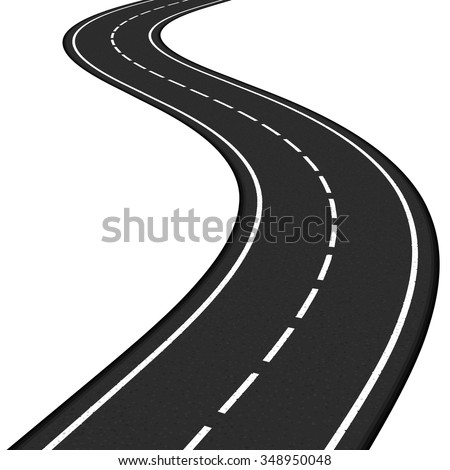 Black asphalt road on white background, vector eps10 illustration - stock vector