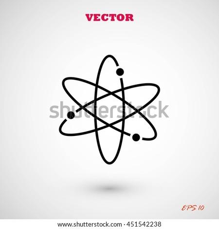Black atom icon - stock vector