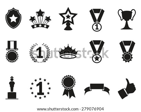 black award icons set - stock vector